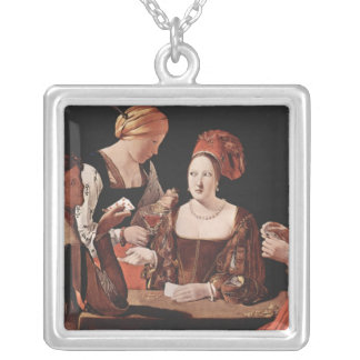 The Cheat (with the Ace of Diamonds) - 1635 Square Pendant Necklace