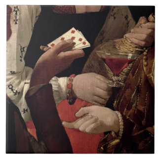 The Cheat with the Ace of Diamonds, detail of the Ceramic Tile