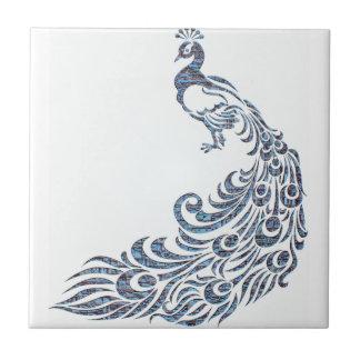 The Checkered Peacock Ceramic Tile