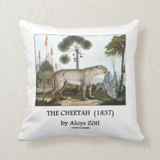 The Cheetah (1837) by Aloys Zötl Throw Pillow