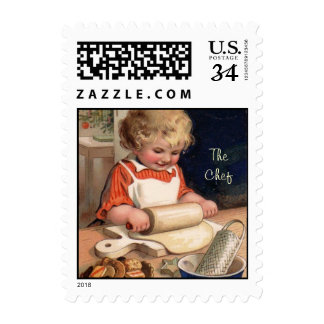 The Chef little girl baking -Postage Stamp