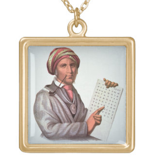 The Cherokee Scholar, Sequoyah (1776-1843) (colour Gold Plated Necklace