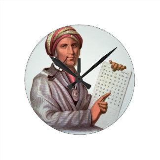 The Cherokee Scholar, Sequoyah (1776-1843) (colour Round Clock