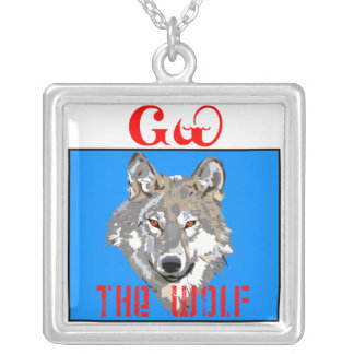 The Cherokee Wolf Square Pendant Necklace