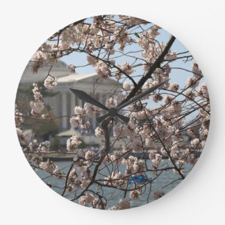The Cherry Blossoms In Bloom In Washington DC Large Clock