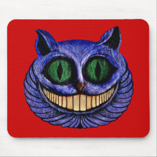 The CHESHIRE CAT Head Invasion! on Red ~ Mouse Pad