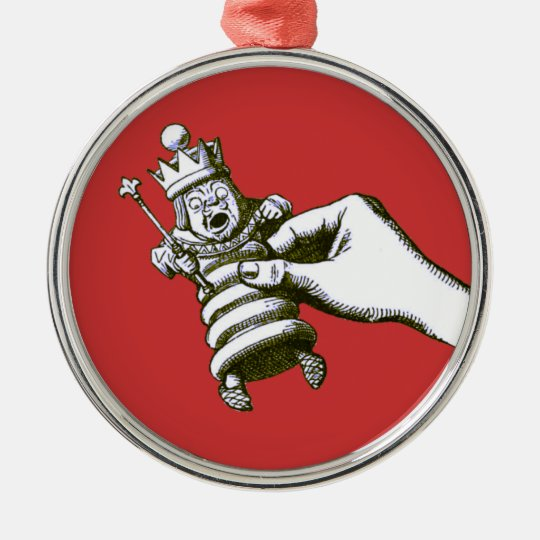 The Chess King Tenniel Metal Ornament