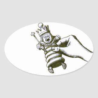 The Chess King Tenniel Oval Sticker