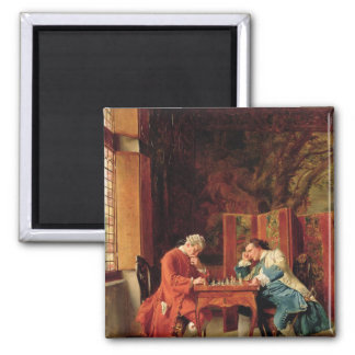 The Chess Players, 1856 2 Inch Square Magnet