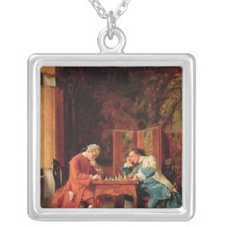 The Chess Players, 1856 Silver Plated Necklace