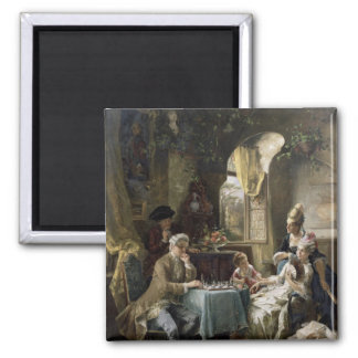 The Chess Players, 1887 2 2 Inch Square Magnet