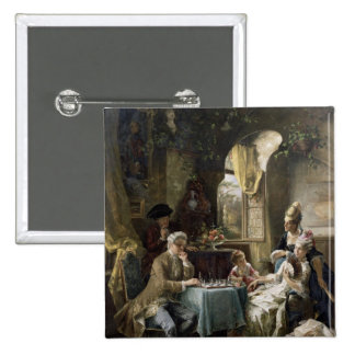 The Chess Players, 1887 2 2 Inch Square Button