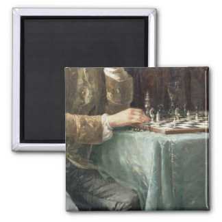 The Chess Players, 1887 2 Inch Square Magnet