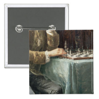 The Chess Players, 1887 2 Inch Square Button