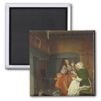 The Chess Players, c.1670 2 Inch Square Magnet