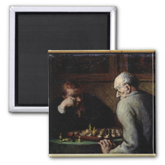 The Chess Players, c.1863-67 2 Inch Square Magnet