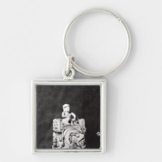 The Chessboard of Charlemagne' Silver-Colored Square Keychain