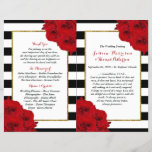 """The Chic Modern Luxe Wedding Collection- Red Roses<br><div class=""""desc"""">The chic modern luxe wedding collection features a classic black and white stripe background accentuated with beautiful ruby red roses and a faux gold foil frame. These bi-fold programs are easy to personalize and will be the perfect order of service for any wedding, bridal shower, birthday party, engagement celebration or...</div>"""