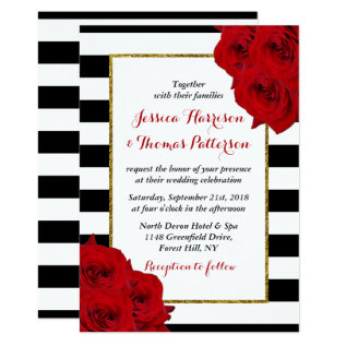 The Chic Modern Luxe Wedding Collection- Red Roses Card at Zazzle