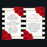 """The Chic Modern Luxe Wedding Collection- Red Roses Flyer<br><div class=""""desc"""">The chic modern luxe wedding collection features a classic black and white stripe background accentuated with beautiful ruby red roses and a faux gold foil frame. These bi-fold programs are easy to personalize and will be the perfect order of service for any wedding, bridal shower, birthday party, engagement celebration or...</div>"""