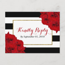 The Chic Modern Luxe Wedding Collection- Red Roses Invitation Postcard