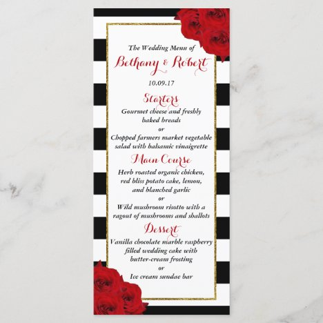 The Chic Modern Luxe Wedding Collection- Red Roses Menu