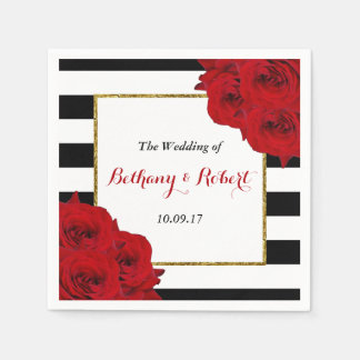 The Chic Modern Luxe Wedding Collection- Red Roses Paper Napkin