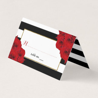 The Chic Modern Luxe Wedding Collection- Red Roses Place Card