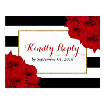 The Chic Modern Luxe Wedding Collection- Red Roses Postcard