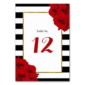 The Chic Modern Luxe Wedding Collection- Red Roses Table Number