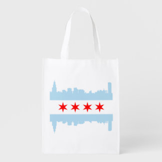 The Chicago Flag Skyline Grocery Bags