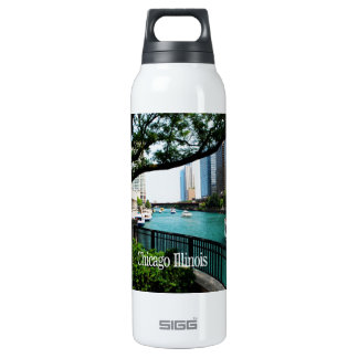 The Chicago River Front Insulated Water Bottle