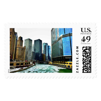 The Chicago River in January Michigan Ave Bridge Postage