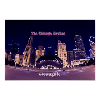 The Chicago Skyline and Cloudgate Posters