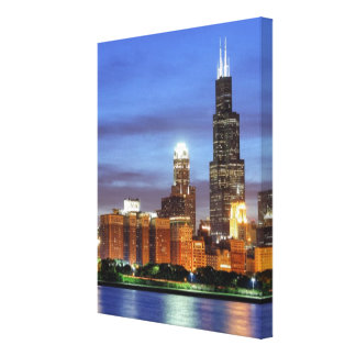 The Chicago skyline from the Adler Planetarium Stretched Canvas Prints