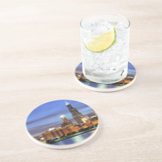 The Chicago skyline from the Adler Planetarium Beverage Coasters