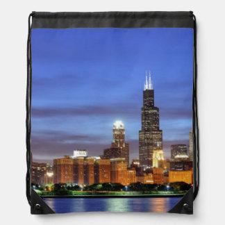 The Chicago skyline from the Adler Planetarium Drawstring Bag