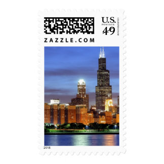 The Chicago skyline from the Adler Planetarium Postage