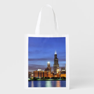 The Chicago skyline from the Adler Planetarium Reusable Grocery Bags