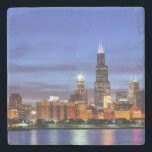 "The Chicago skyline from the Adler Planetarium Stone Coaster<br><div class=""desc"">Chicago Moon</div>"
