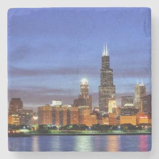 The Chicago skyline from the Adler Planetarium Stone Coaster