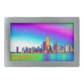 The Chicago Skyline in Colored Foil Rectangular Belt Buckle