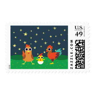 The Chicken Family at Night Postage