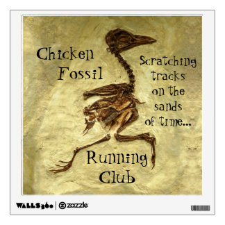 The Chicken Fossil Running Club Logo Design Wall Decal