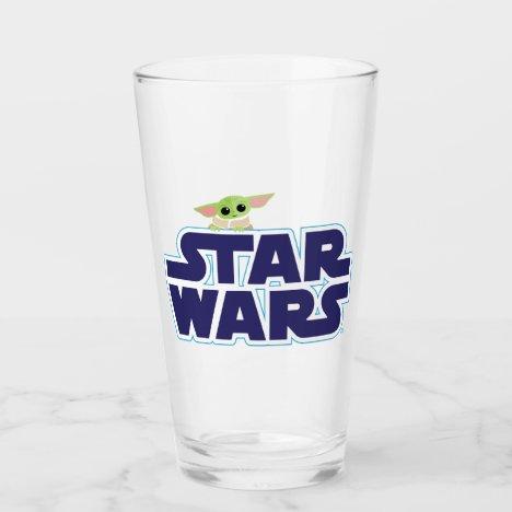 The Child Peeking Over Blue Star Wars Logo Glass