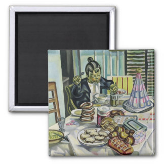 The Child with the Cakes 2 Inch Square Magnet