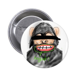 The chimpanzee which produces the tooth stalk pinback button