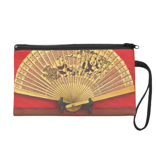 The Chinese fan Wristlet Purse