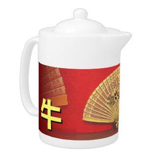"The Chinese fan - Zodiac sign ""ox, 牛"" Teapot"