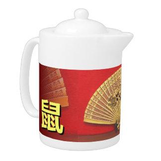 "The Chinese fan - Zodiac sign ""rat, 鼠"" Teapot"